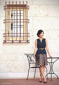 ExtraPetite.com - Reviews: Ann Taylor petites chevron skirt, bow clutch
