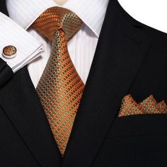 Metallic Orange and Green Necktie Set – Toramon Necktie Company Fashion Mode, Suit Fashion, Mens Fashion, Sharp Dressed Man, Well Dressed Men, Style Masculin, Wedding Ties, Tie Set, Tie And Pocket Square