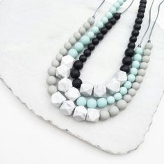White Marble Silicone Teething Necklace - Cool Gray