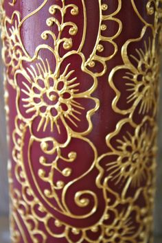 Hand Painted Wine bottle Vase Brick Red with Gold by LucentJane