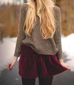 velvet skirt, slouchy sweater, and tights. dont love the colors, but love the concept and idea behind it