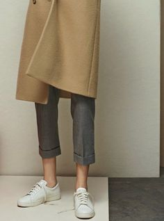 sneaker, outfit, camel coat