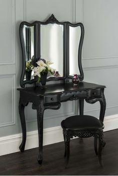 La Rochelle Black Antique French Dressing Table Set