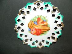 A White Porcelain Vintage Dish w/a Vegetable Decoration in the