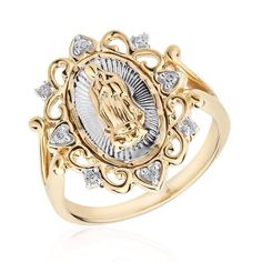 Mi Joya Divina The Blessed Virgin Mary Ring - Item 19359173 Gold Rings Jewelry, Cute Jewelry, Pendant Jewelry, Jewelry Accessories, Jewelry Necklaces, Royal Jewelry, Jewlery, Quinceanera Necklace, Quinceanera Tiaras