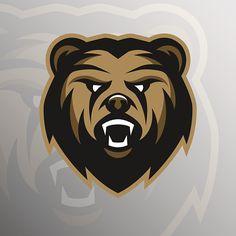 Angry Bear symbol, emblem, sport logo. - ilustração de arte vetorial