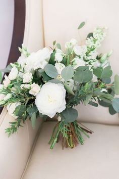 White and green bridal bouquet bouquets bridesmaids 20 Elegant White and Greenery Wedding Bouquets Simple Wedding Bouquets, Bridal Bouquet Fall, Rose Wedding Bouquet, White Wedding Flowers, Bride Bouquets, Floral Wedding, Bridesmaid Bouquets, Flower Bouquets, Burgundy Wedding