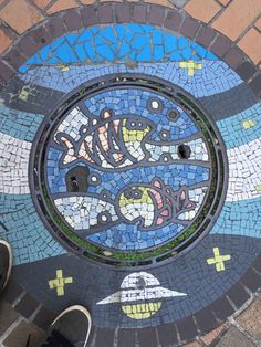 Tiled Manhole Cover in Kawaguchi City All About Japan, Mount Fuji, Blog Voyage, City Photo, Japanese, Cover, Japan Trip, Mouths, Underworld