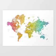 Modern Travel Map, INTERACTIVE Family Map, Housewarming Gift, World ...