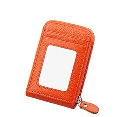 IDEAWIN Unisex Compact Accordion Style Genuine Leather Card Case Wallet with Zipper -- Check out this great product.