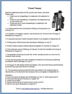"""In our logic brain teasers, you'll need a sharp eye for misspellings as well as keen cognitive skills. Can you solve this difficult """"Travel Teaser? Hard Brain Teasers, Brain Teasers For Adults, Brain Games For Adults, Spelling Bee Word List, Spelling Practice, Spelling Words, Physical Education Games, Health Education, Physical Activities"""