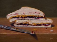 """Daily Paintworks - """"PBJ with Knife"""" - Original Fine Art for Sale - © Abbey Ryan Realistic Paintings, Original Paintings, Low Key Lighting, Still Life Images, Still Life Fruit, Dutch Golden Age, Still Life Oil Painting, Chiaroscuro, Still Life Photography"""