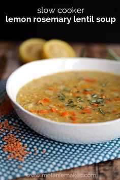 Fresh vegetables, lemon and rosemary become an amazingly hearty soup with minimal effort. Carrots, onion, yellow bell pepper and red lentils are flavored with garlic and a dash of cayenne pepper and slow cooked until tender. This Slow Cooker Lemon Rosemary Lentil Soup is one of the easiest soups to ever come out of your kitchen.