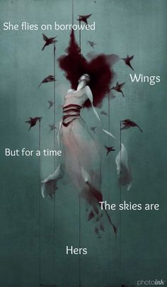 """""""She flies on borrowed wings but for a time the skies are hers"""" - Brittany Kelly"""