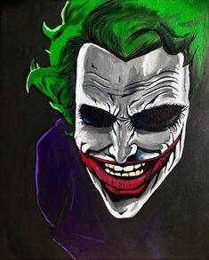 Le sourire du joker - Painting, cm by Izak - Joker Cartoon, Joker Comic, Joker Art, Joker Drawings, Cartoon Drawings, Cartoon Art, Joker Images, Joker Pics, Cute Canvas Paintings