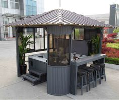 New Backyard Hot Tub Patio Gazebo Ideas Hot Tub Gazebo, Hot Tub Backyard, Backyard Gazebo, Garden Gazebo, Pergola Patio, Backyard Ideas, Terrace Garden, Pergola Kits, Gazebo Ideas