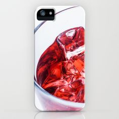 Glass with Ice and Red Liquor iPhone & iPod Case - $35.00