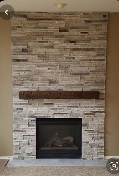 Stone Tile Fireplace, Airstone Fireplace, Stone Fireplace Makeover, Stacked Stone Fireplaces, Fireplace Tile Surround, Basement Fireplace, Rock Fireplaces, Farmhouse Fireplace, Home Fireplace