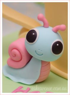 Cute Snail Cake Topper Figurine....could be made w/ polymer clay..