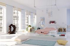 Drop Dead White Bedroom with Aqua Rug by Elif: Drop Dead White Bedroom with Aqua Rug by Elif