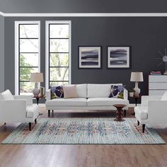 Dark Grey Walls Living Room, Living Room Color Schemes, Living Room Colors, My Living Room, Living Room Designs, Living Room Decor, Brown And Blue Living Room, Interior Paint Colors For Living Room, Living Room Area Rugs