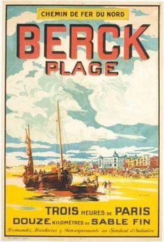 Vintage Railway Travel Poster - Berck Plage - Département du Pas de Calais - France.