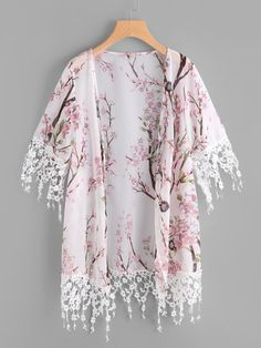 To find out about the Blossom Print Floral Lace Trim Kimono at SHEIN, part of our latest Kimonos ready to shop online today! Kimono Outfit, Kimono Cardigan, Kimono Fashion, Boho Fashion, Fashion Design, Kimono Floral, Floral Lace, Girls Fashion Clothes, Fashion Dresses