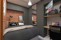 Here are 8 ways to maximize the space in a small bedroom. Room Design Bedroom, Bedroom Loft, Home Room Design, Bedroom Decor, Home Interior Design, Small Apartment Layout, Small Apartment Interior, Small Apartments, Minimal Bedroom