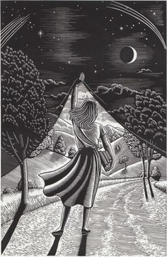 I like this idea of presenting diferent places, imagined places in drawings. Douglas Smith scratchboard art, born in NYC Fantasy Kunst, Fantasy Art, Fantasy Books, Art Scratchboard, Digital Art Illustration, Kratz Kunst, Douglas Smith, Scratch Art, Inspiration Art
