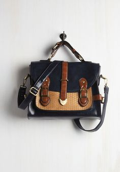 SO ADORABLE   Authentically Academic Bag - Faux Leather, Black, Solid, Buckles, Colorblocking