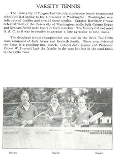1919 UO varsity tennis.  From the 1920 Oregana (UO yearbook).  www.CampusAttic.com