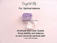 Crystals for spiritual balance Amethyst and Clear Quartz.