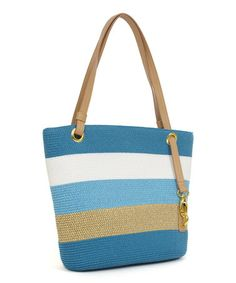Look what I found on #zulily! Turquoise & Natural Stripe Straw Tote by Magid #zulilyfinds