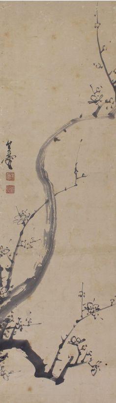 Sumi ink White Plum Blossoms Antique hanging scroll kakejiku.