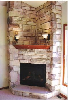 Corner Fireplace with hearth and corner wood mantle Desert Tan Cut Cobble J&N Stone