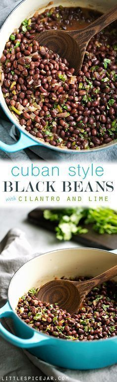 Cuban Black Beans with Cilantro and Lime - These are the perfect accompaniment to white rice and are completely vegan! Slow simmered black beans flavored with cilantro and lime! #cubanblackbeans #frijolesnegros #blackbeans