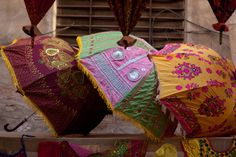 Parasols made from Indian textiles.