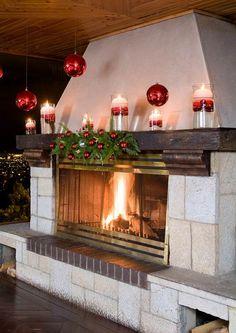 Decoración Navideña en el salón fuego