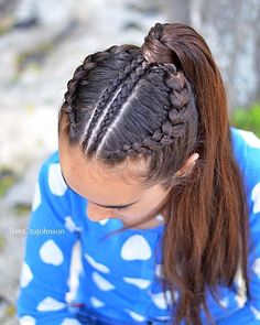 Today we are twinning with Lucie with our favorite hairstyle - a ponytail inspired b Little Girl Braid Hairstyles, Weave Ponytail Hairstyles, Little Girl Braids, Cute Girls Hairstyles, Girls Braids, Easy Hairstyles, Cornrows Ponytail, Cheer Hairstyles, Game Day Hair