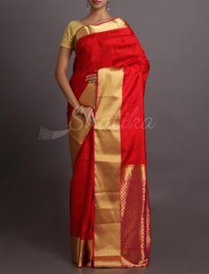 Sanvi Plain Ravishing Red And Gold #WeddingSilkSaree