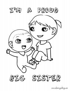 Downloads Welcome Baby Pinterest Coloring Big Sisters And