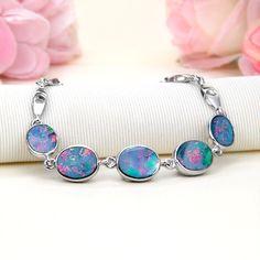 Sterling Silver Rainbow Fire Australian Black Opal Doublet (Boulder Opal) Bracelet