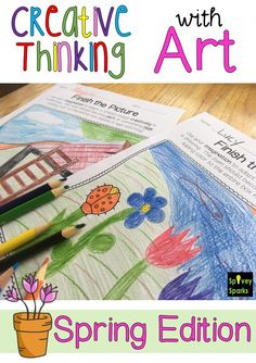 Spring Fever brings time for kids to use creative thinking as they Finish the Picture! Use spring printables to inspire children to add to the graphic to make something new. Come check out this set! School Age Crafts, School Art Projects, Art School, 2nd Grade Teacher, Elementary Teacher, Upper Elementary, Spring Drawing, Higher Order Thinking, Drawing Activities