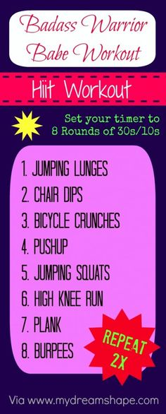 Badass Warrior Babe Hiit Workout | www.mydreamshape.com/badass-warrior-babe-hiit-workout/