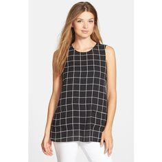 Vince Camuto Pocket Front Windowpane Sleeveless Blouse (€44) ❤ liked on Polyvore featuring tops, blouses, rich black, pocket tops, keyhole blouse, pocket blouse, vince camuto tops and graphic tops