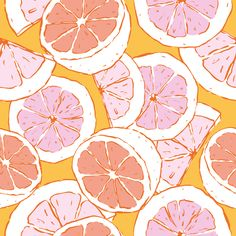 fresh grapefruit fabric by nespola_designs on Spoonflower - custom fabric Night Aesthetic, Aesthetic Art, Aesthetic Anime, Cute Wallpapers, Wallpaper Backgrounds, Pink Drawing, Posca Art, Fruit Illustration, Cute Wallpaper For Phone