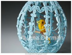 Inna's Creations: Birdcage Easter Egg - Quilling- not for my babes, but such a cute idea