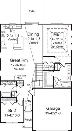 2 Bedroom House Plans, Small House Plans, House Floor Plans, Patio Kits, 1000 Sq Ft, Garden Tub, Traditional House Plans, Construction, Square Feet