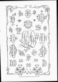 Monograms, corners and borders, some with Art Nouveau