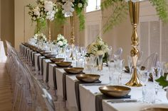 Long Tables and settings by Dann Event Hire, with Centrepieces by Bouquet Melbourne in the Isabella Fraser Room at the State Library Victoria